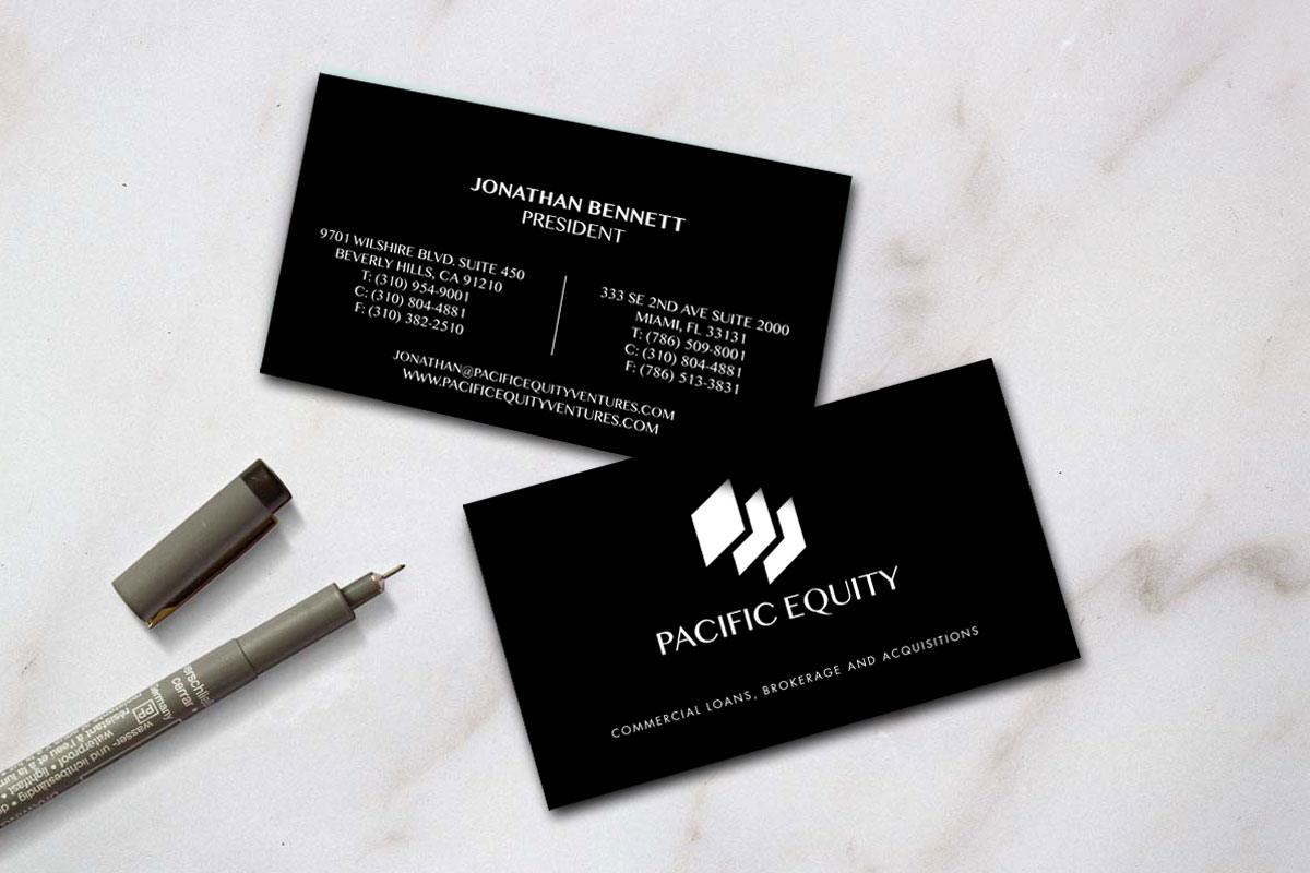 Pacfic equity blue7studios blue 7 studios was hired to create a branding package consisting of a website logo and business cards magicingreecefo Images